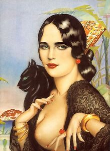 ART DECO BEAUTIFUL LADY WITH GREEN EYES. WITH BLACK CAT. A 4 size PHOTO PRINT.