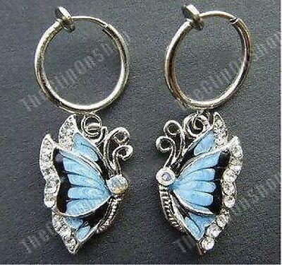 CLIP ON mini hoop CRYSTAL rhinestone BUTTERFLY WING enamel EARRINGS blue/silver
