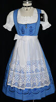 Dirndl Waitress Oktoberfest German Long Dress Embroidered 3 Pieces Complete Set