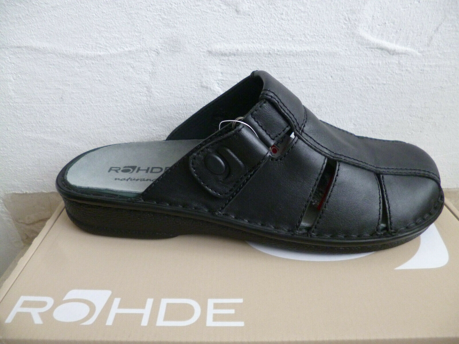 Rohde Men's Clogs Slippers House Shoes Mules Sabot Black Real Leather New