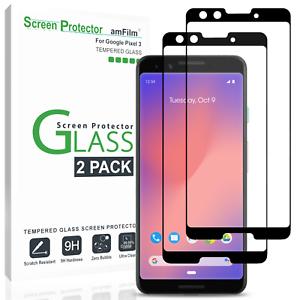 Amfilm-Protecteur-d-039-ecran-pour-Google-Pixel-3-Premium-Real-verre-trempe-2-Pack