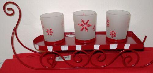 Neu 3-er Teelicht-Votivkerzen-Halter Schlitten Metall 33x17x10cm,3 Gläser
