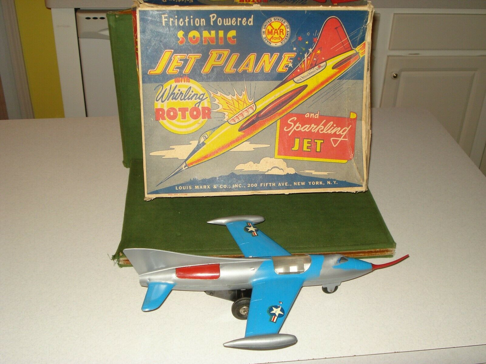 1947 MARX SONIC JET PLANE WITH BOX, 15  IN LENGTH, FRICTION MOTOR