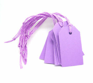 50-Small-Blank-Gift-Tags-with-string-Iris-Lavender-Purple-pre-strung-Handmade