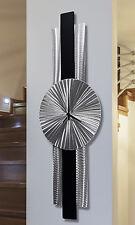 Abstract Black & Silver Metal Wall Clock Sculpture - Infinite Orbit by Jon Allen