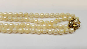 5d7968d1d9d7fd Two-Row Akoya Pearl Necklace 585 Gold Lock Diamonds Pearl Collier | eBay