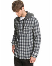 QUIKSILVER Men's Snap Up Hooded Long Sleeve Shirt Tee