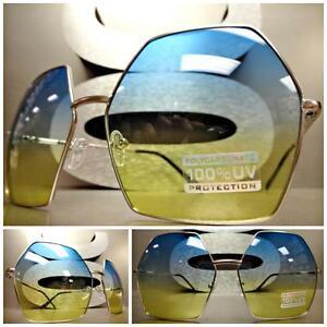 OVERSIZE VINTAGE HEXAGON RETRO Style SUN GLASSES Silver Frame Chrome Mirror Lens