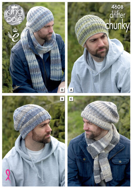 Mens Hats & Scarves Knitting Pattern Winter Accessories King Cole Chunky 4608