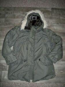 Vintage-1970s-N3B-Hooded-Parka-Jacket-Snorkel-Military-Fur-Hood-USAF-Mens-Medium