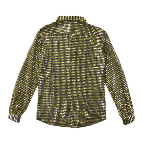 Mens Shiny Sequins Dance Performance Long Sleeve Shirt See through Mesh Costume