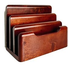 Cherry Wood Letter Organizer By Newell 4 Part Desk Mail Holder Euc