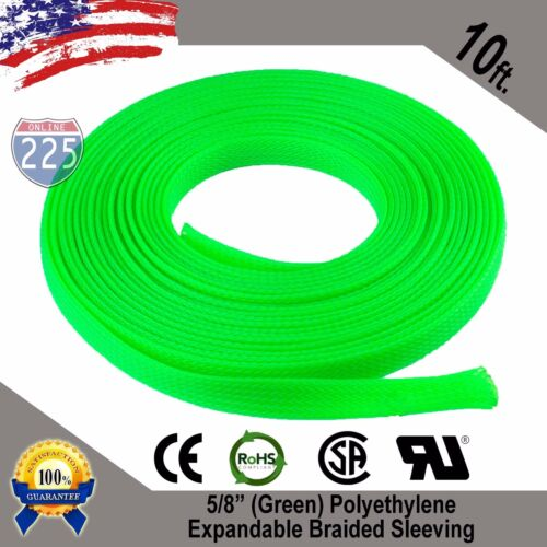 """10 FT 5//8/"""" Green Expandable Wire Cable Sleeving Sheathing Braided Loom Tubing"""