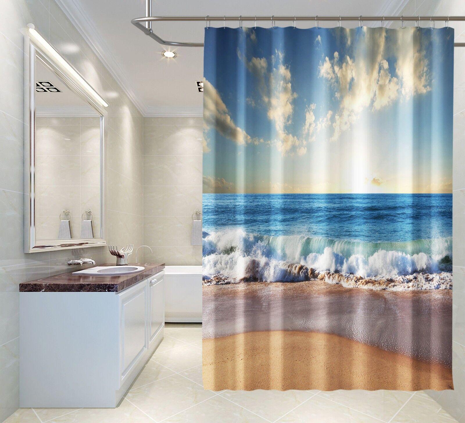 3D Strand Sonne 7 Duschvorhang Wasserdicht Faser Bad Daheim Daheim Daheim Windows Toilette DE | Lebensecht  6e14c9