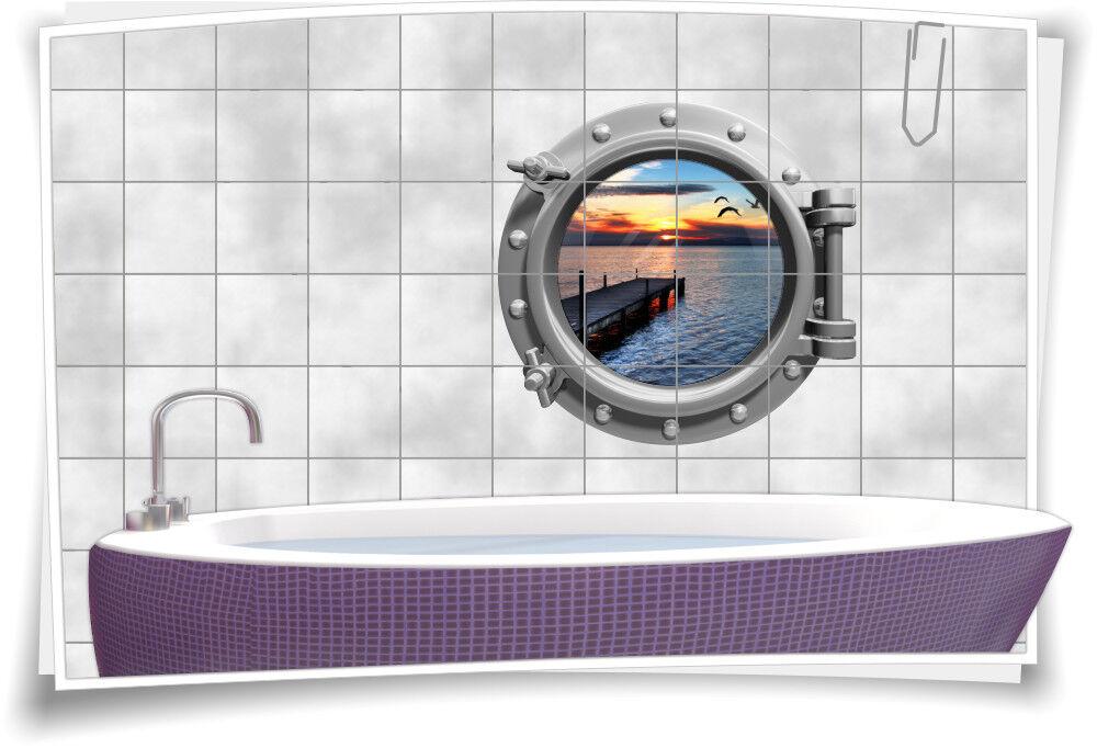 Fliesenaufkleber Fliesenbild Fliesen Bullauge Meer Steg Aufkleber Badezimmer | Zu einem erschwinglichen Preis