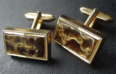 Men/'s 1970/'s Vintage Textured Square Gold Tone Ornate Design Wedding Cufflinks