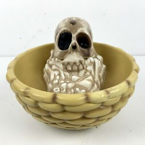Gemmy Skull Animated Candy Dish Bowl Head Snake Eye ...