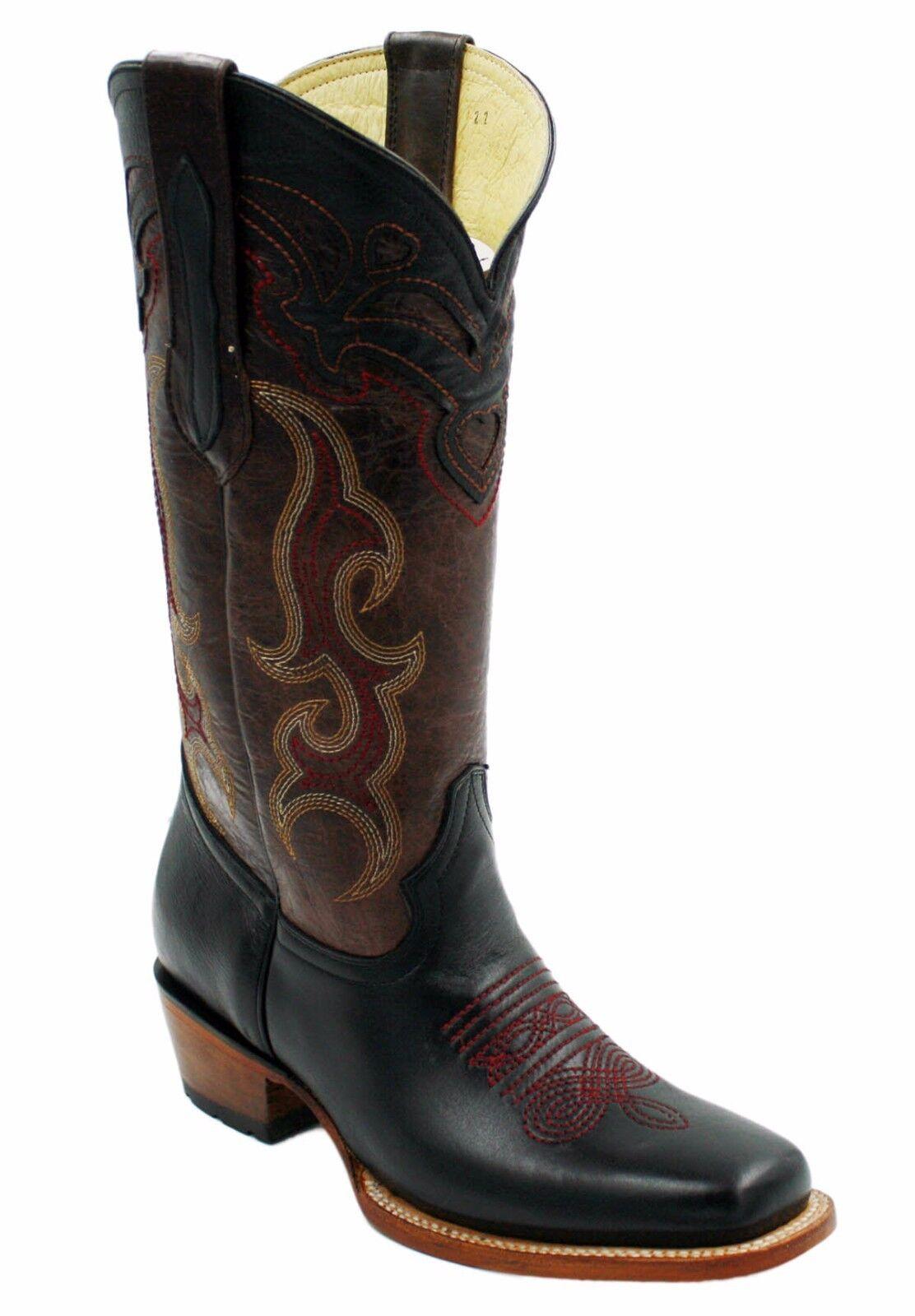 Señoras Genuino Cuero de Vaca Cuero Negro Vaquera botas Estilo Oeste-DB030S2