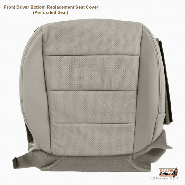 Front DRIVER Bottom Perforated Leather Seat Cover Gray For