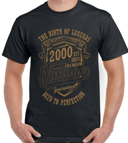 20th Birthday T-Shirt Mens Funny The Birth Of Legends 2002 20 Year Old Present