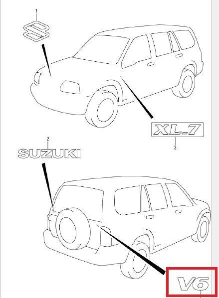 Buy Suzuki Grand Vitara Escudo Xl7 V6 Emblem Oem Online