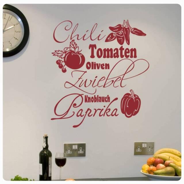 Wandtattoo Gemuse Sorten Wandaufkleber Kuche Bad Tomaten Chili Paprika W497 Ebay