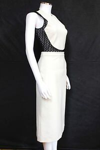 New-David-Koma-Black-White-Contrast-cotton-blend-midi-Bodycon-dress-UK-10