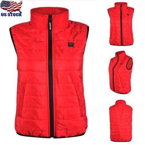 Womens Electric USB Winter Heated Vest Heating Coat Jacket Sleeveless Waistcoat