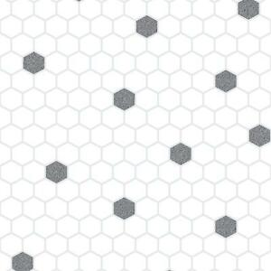 Rasch Honeycomb Hexagon Glitter Kitchen Bathroom Vinyl Wallpaper