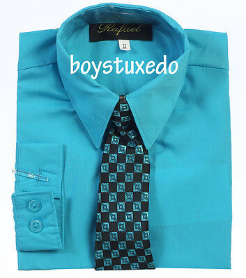 New Boy's Formal Turquoise Solid Long Sleeve Dress Shirt With Tie Sizes 2T-20