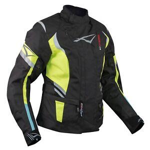 Ladies Motorcycle Motorbike Thermal Waterproof Textile Touring Jacket Fluo S