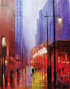 Art-Abstract-100-Hand-painted-Oil-Painting-RAINY-CITYSCAPE-16-20inch-Decoration