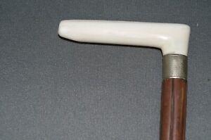 Vecchio Canna Gehstock Flanierstock Maniglia Di Pregiata Materiale Gamba 87cm