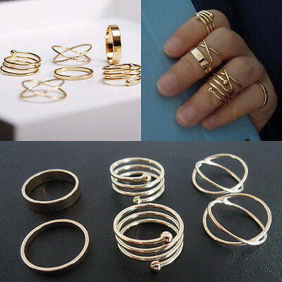 Fashion Vintage Women's Metal Gold Plated Knuckle Finger Ring Set Jewelry 6PCS