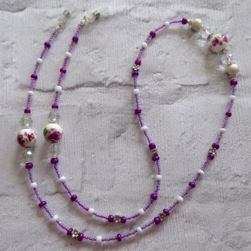 * Ceramic Flower Glasses Chain  Spectacles Holder  Eyeglass Strap  Beaded Cord