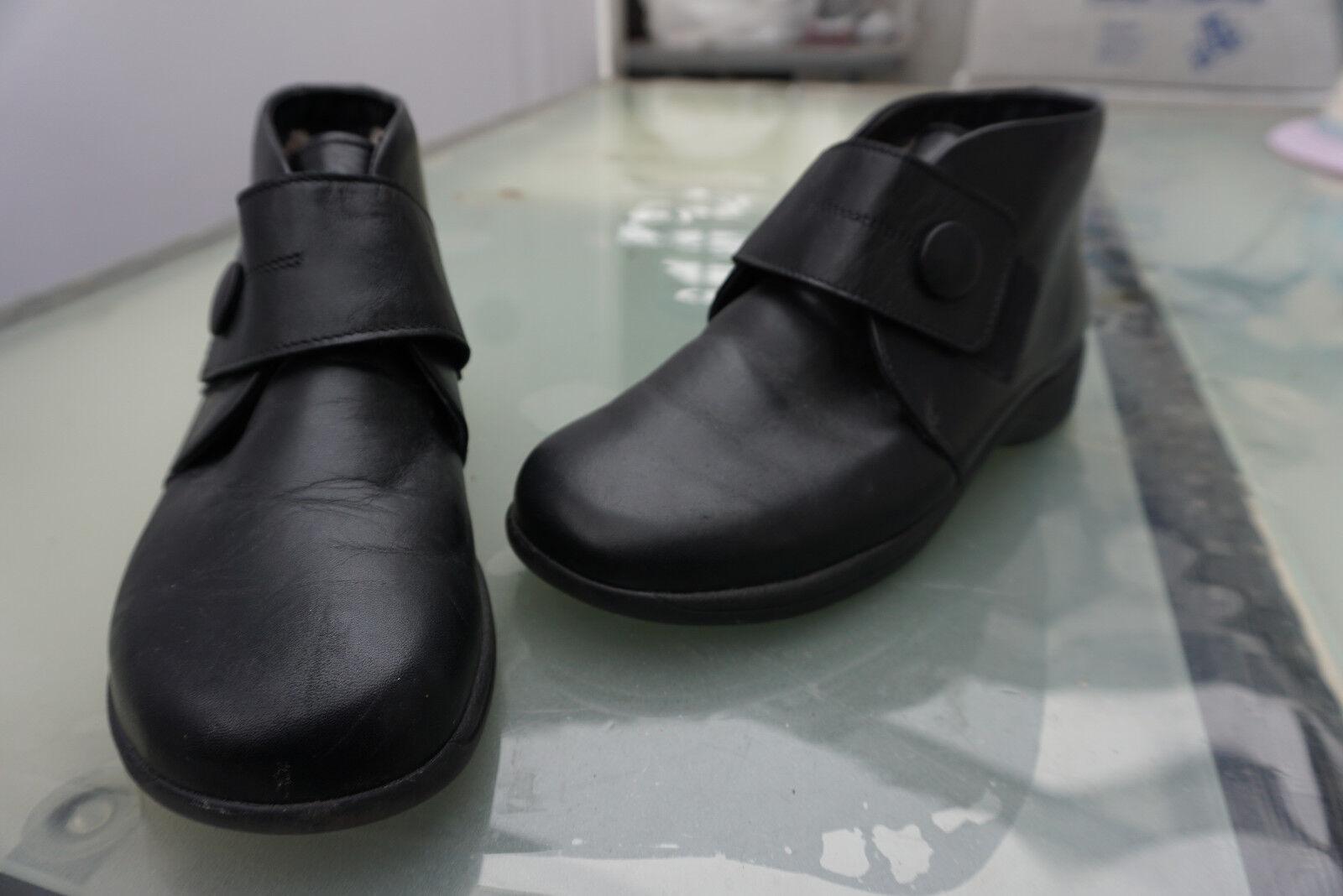 Chauds  sko Femmes Bottes 38 D'Hiver Boots Velcro Taille 38 Bottes Noir Cuir Doublure Top a1b014