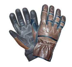 Mens-Brown-Leather-Motorcycle-Full-Finger-Gloves-8392