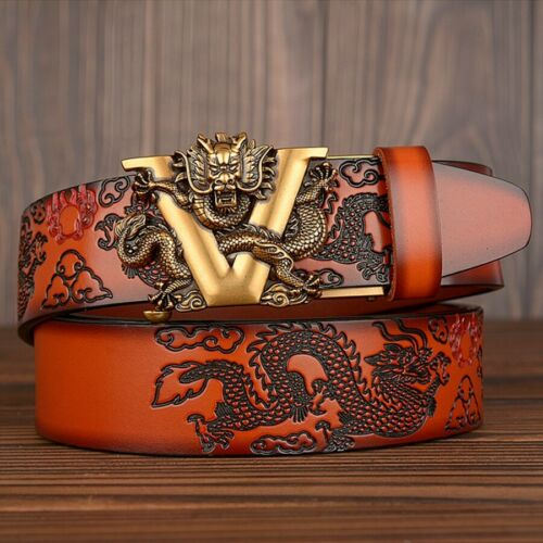 Men/'s Classic V head Buckle Genuine Cow Leather Jean Luxury Vintage Belt 2020