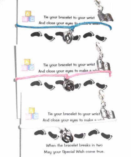 WHITE Baby Feet WISH Bracelet /& ABC Charm- Colour Choice PINK Card BLUE
