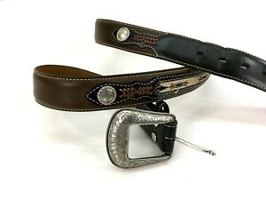 Nocona-Belt-Co-Mens-44-Belt-Leather-Top-Hand-Brown-amp-Black-Middle-Inlay-READ