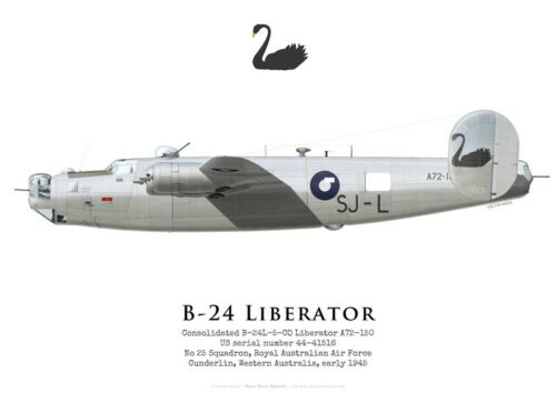 No 25 Squadron 1945 by G.Marie RAAF Print B-24 Liberator