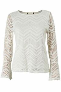 M-amp-S-Marks-Spencer-Ivory-Chevron-Stripe-Lined-Lace-Blouse-Flare-Bell-Sleeve