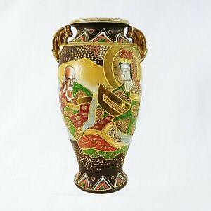 "Satsuma Japanese Vase Enamel Moriage Details Gold Immortals 12"" Handles"