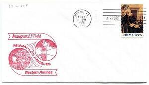 Ffc 1976 Inaugural Flight Western Airlines Miami Florida Los Angeles California Une Offre Abondante Et Une Livraison Rapide