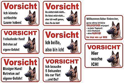 Zielsetzung Schild Vorsicht Malinois 15x20cm Bis 40x60cm, Schäferhund Achtung Warnschild