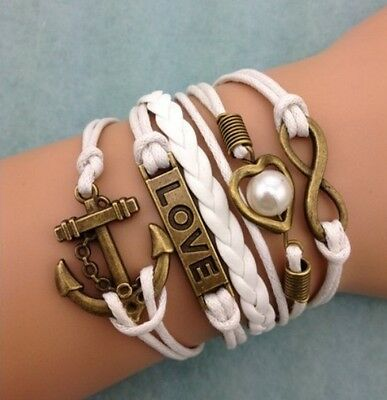 NEW Infinity Love Heart Pearl Anchor Leather Charm Bracelet plated Copper DIY !!