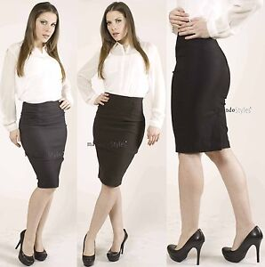 Office Shirring Sleek Slim High waisted Stretch Career Fitted Knee ...