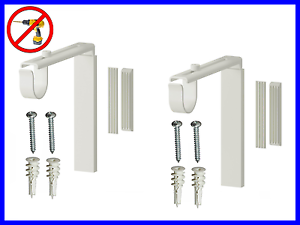 NEW-WHITE-Color-2-Sets-Curtain-Wall-Ceiling-Bracket-Rod-Holder-No-Drill-Needed