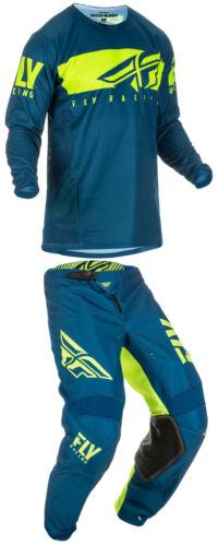 Fly Racing Mens Navy Blue//Hi-Vis Kinetic Shield Dirt Bike Jersey /& Pants Kit MX