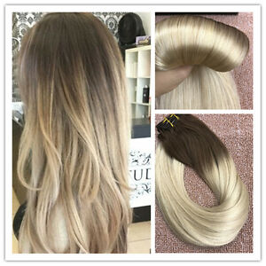 6a balayage brown to blonde remy ombre clip in human hair